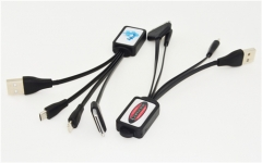 Charging cable 3in1 with epoxy doming sticker logo